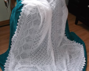 Shetland Baby Shawl Hand Knitted MADE TO ORDER