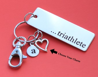 Personalized Triathlete Key Chain Stainless Steel Customized with Your Charm & Initial -K397