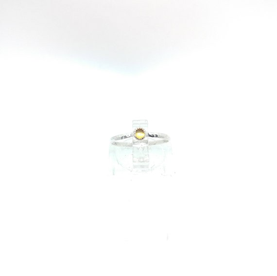 Yellow Sapphire Stackable Ring | Sterling Silver Ring Sz 5.5 | Sunshine Yellow Sapphire Ring | September Birthstone Ring | Stacking Rings