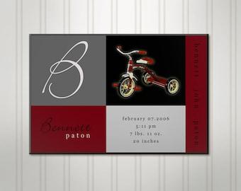 Personalized Boy's Room Sign, Ticycle Blocks, Boys Birth Stats Wall Decor, Childrens Nursery Art