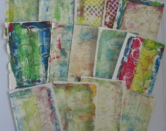 gelli print doodle paper altered art journal junk journal altered book pages lot of 14