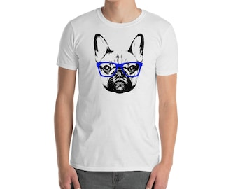 Hipster French Bulldog Shirt with Blue Glasses