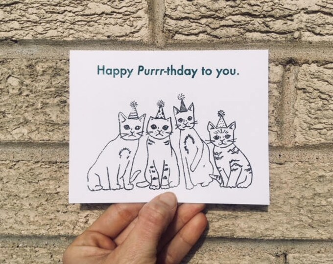 Funny Birthday Card - Happy Purrr-thday to You, Cat Lover Card, Hipster Birthday Card, Card from Cat, For Her, Birthday Card Funny, Cat Card