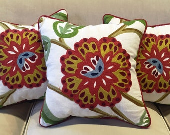 Andrew Martin crewel work fabric cushion