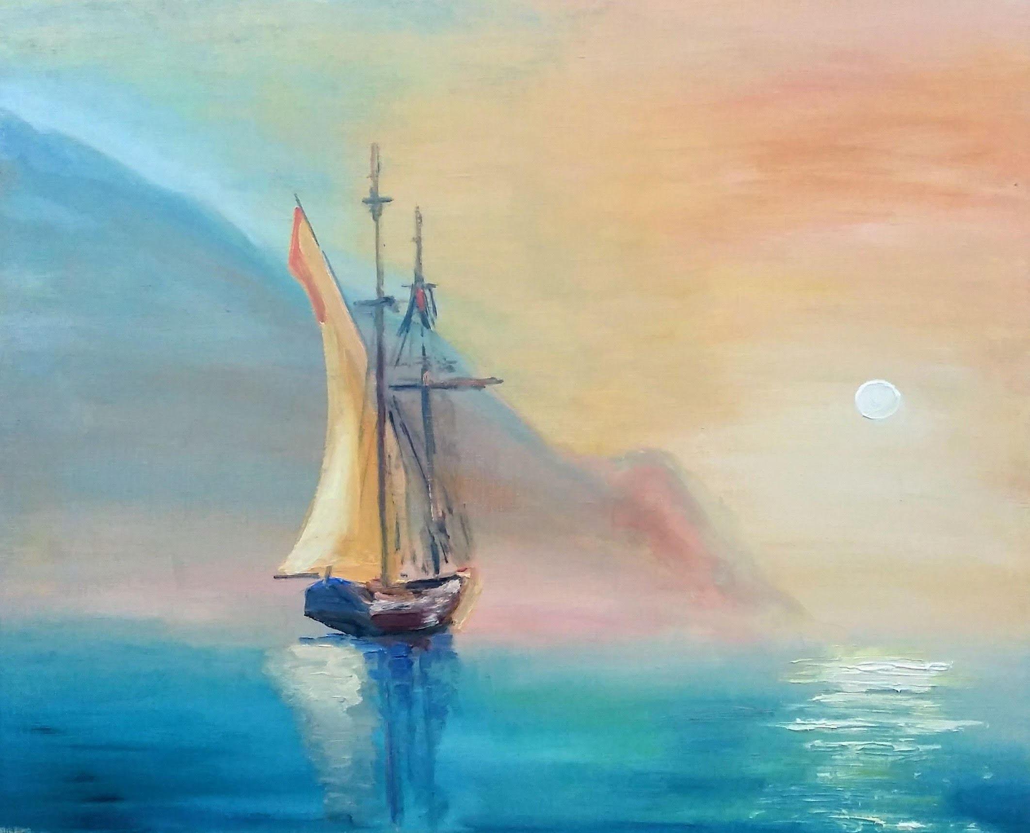 Sailing Boats Canvas Sailboat Painting Ship Seascape Nautical