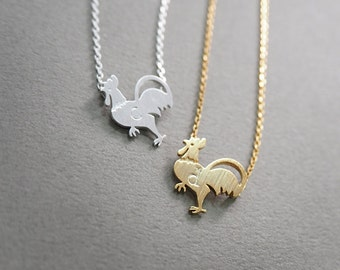 initial necklace, personalized necklace, rooster necklace, Chicken Necklace