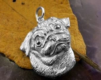 Sterling Silver PUG DOG Pendant /Charm, Handmade Silver Pug, Fits Pandora, Silver Dog charm, Silver Dog pendant, See other dogs