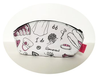 Large Cosmetic Pouch. Makeup Pouch. Cute Bride Print Pouch. Zippered Pouch.
