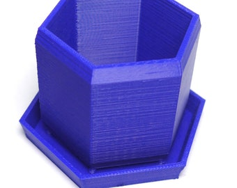 Hexagon 3D printed Succulent Desktop Planter Blue