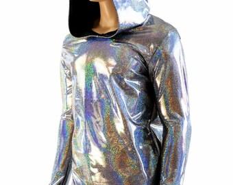 Mens Silver Holographic Long Sleeve Hoodie Shirt w/Black Zen Hood Liner Rave Space Festival Burning Man Clubwear 154026