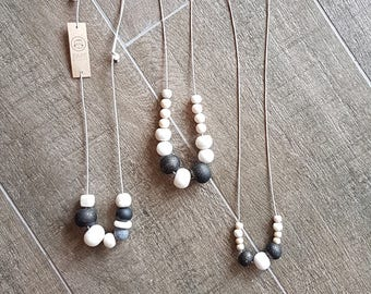 Hand rolled clay bead necklaces - black/white/grey