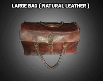 SALE 40% OFF // Weekender Bag, Leather Travel Bag, Leather Duffel Bag, Cabin Travel Bag, Brown Gym Bag,Leather Overnight Bag, natural