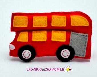 Felt DOUBLE-DECKER BUS, stuffed felt Bus magnet or ornament, Bus toy, Vehicles, Nursery decor,Bus magnet,kids toy, Double-decker bus