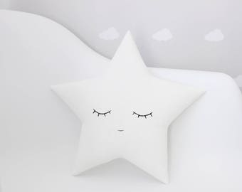 White Star Pillow, White Star Cushion, Kids Pillow, Baby Pillow, Baby Shower Gift, Personalized Pillow, Pillow With Name, Newborn Gift