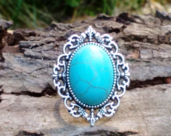 Turquoise Ring, Adjustable Ring, Statement Ring, Bohemian Ring, Boho Jewelry, Gypsy Ring, Gemstone Ring, Howlite Ring, Turquoise Jewellery