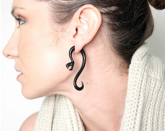 Fake Gauges, Handmade, Horn Earrings, Cheaters, Organic, Plugs, Split, Tribal Style - Serpent Curls Horn