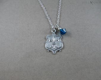 Three Musketeers - Fleur-de-lis Shield Charm Necklace - Silver