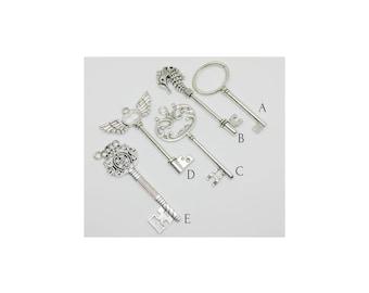Antique Silver Tone Skeleton Key Charms Pendants Key Faub