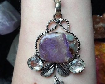 Purple Charoite Necklace 925 Stamped