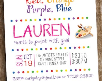 Painting Art Birthday Party Invitation - Printed and Printable