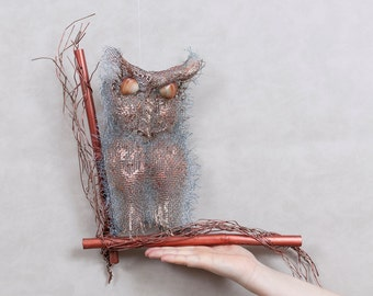 Copper wire sculpture Wall Art Owl OOAK Wall Hanging Metal Sculpture Art Rustic Art