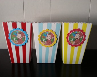 12 Curious George favor or popcorn boxes, birthday decorations, party favors, party pack, available for Peppa pig, little Einstein