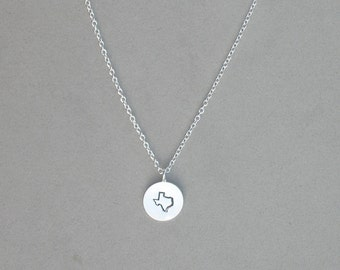 Hand Stamped Silver Plated Texas Necklace