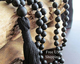 Matte Black Onyx Mala Beads, 108 Bead Mala, Tassel Necklace, Yoga Jewelry, Prayer Beads, Yoga Mala, Japa Mala, Black Mala, Meditation, Reiki