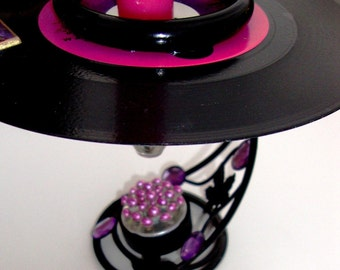 "SISTER SLEDGE Vintage Vinyl Record Art Candleholder ""My Guy"" Inset Cone Shaped Glass Votive & TaperJoni Sledge, Pink, Purple, Black,"