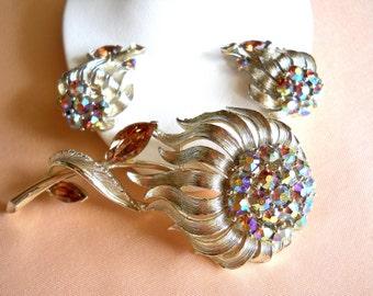 Lisner Brooch and Earring Set - AB Rhinestone Flower Brooch Pin Earring Set - Demi Parure - Signed Lisner - Vintage
