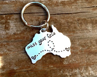 Long Distance Relationship Keychain - ANY STATE - USA, Australia with Custom