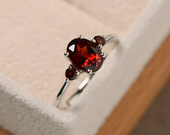 Garnet ring, gemstone ring garnet, sterling silver, red garnet ring, January birthstone ring