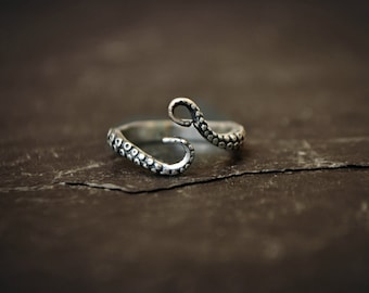 Octopus Tentacle Ring Sterling Silver Pirate Ring Jewelry Kraken Ring Ocean Sea Monster Steampunk Ring