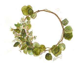 Martha wreath (original watercolor)