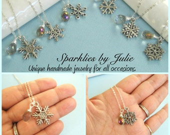 SIX PIECE Gift Set - Snowflake Drop Necklaces - 6 Silver Snowflake designs, Wire Wrapped Gemstone Briolettes, Winter Wonder Wedding Gift
