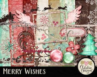 Christmas Digital Scrapbook Kit Clip Art - Merry Wishes Digital Embellishments & Papers