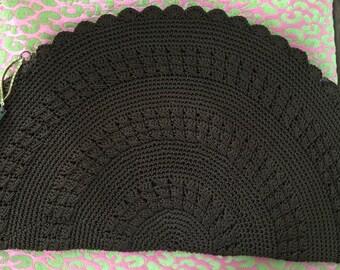 Chocolate corde hand crochet thirties clutch with mandolin like fob