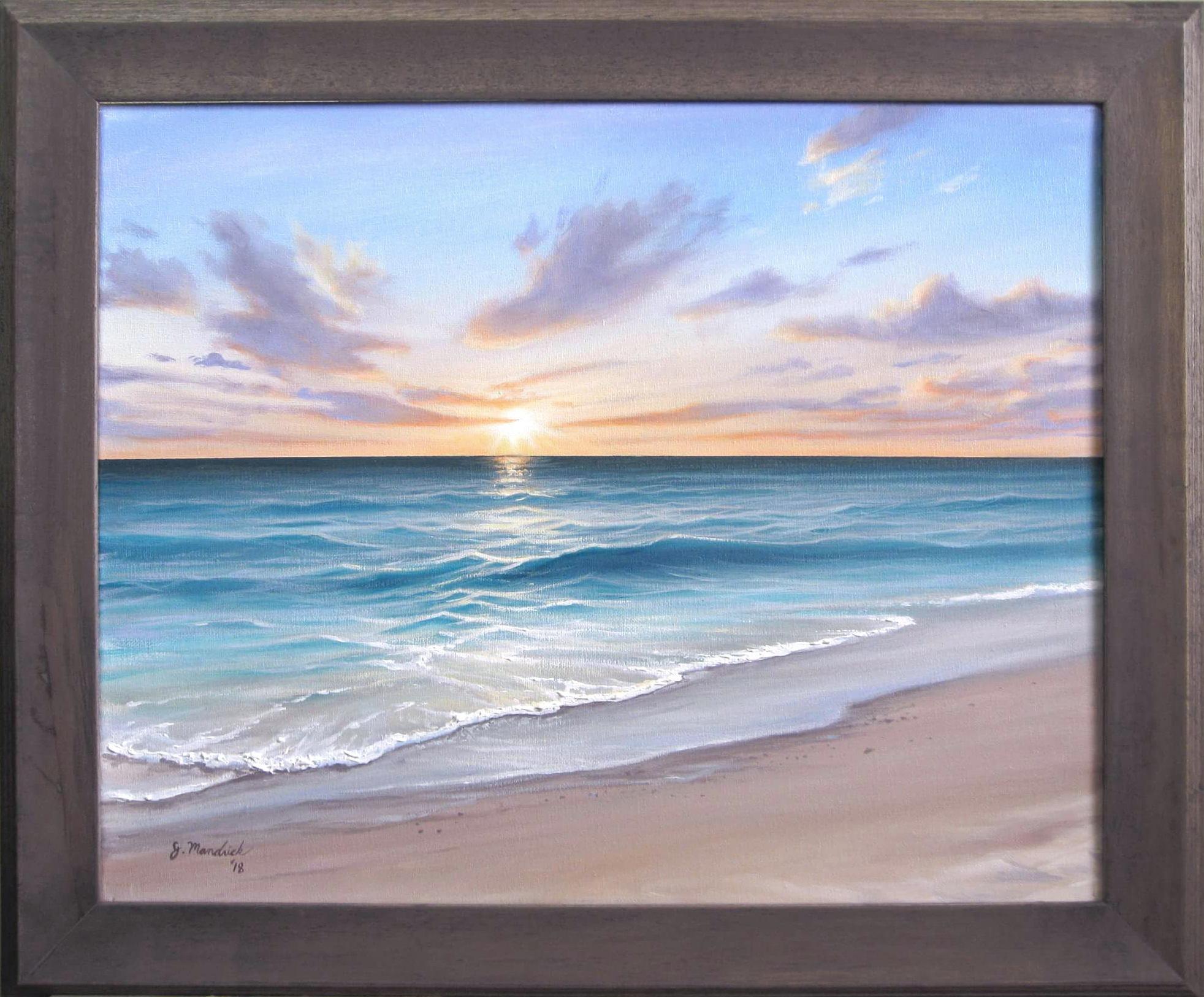 Original 16x20 Ocean Beach Sunrise Painting on Canvas by J.