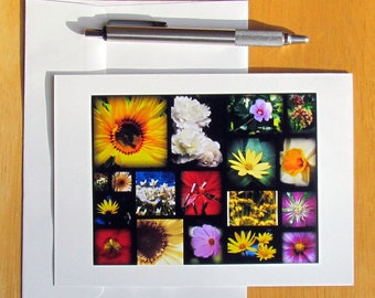 Floral Note Card, Flower Collage Card, Note Cards, Photo Note Cards, Notecards, Stationery, Nature Note Cards, Blank Cards, Cards for Her