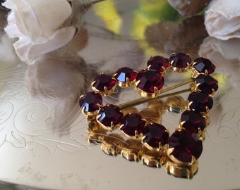 Vintage Heart Brooch, Faux Ruby Pin, Valentine's Day Gift