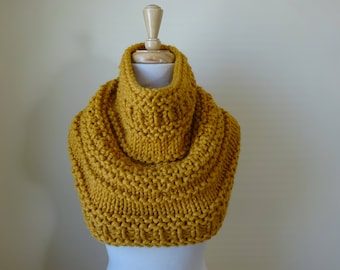 Knit Cowl, Chunky  Cowl, Infinity Scarf, Circle Scarf, Neck Warmer, Snood, Textured Cowl in Mustard - Ready to Ship Gift for Her