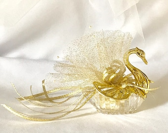 10 Handmade (Hand-finished) Swan Party Favors For Weddings, Bridal Showers, Birthdays, Party Decors, or Any Special Occasion; Package of 10