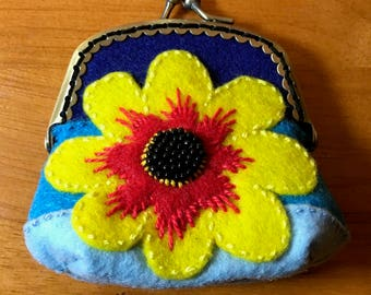 Beaded Flower Pouch - Hand Embroidered Kiss Clasp Coin Purse, Tri-Color Blue