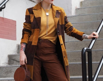 vintage patchwork corduroy and suede long duster jacket / wide wale cord single breasted coat brown and tan coat