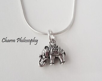 Elephant Necklace - Small Elephant Charm Pendant - 925 Sterling Silver Jewelry - Indian Jewelry