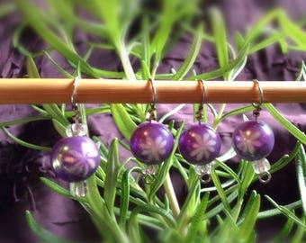 Purple Snowflake Stitch Marker set fits up to size US9/5.5mm needles