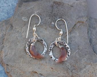 "Smokey Moonstone Crescent Moon Hammered Hoop Sterling Silver Dangle Earrings 3/4"""