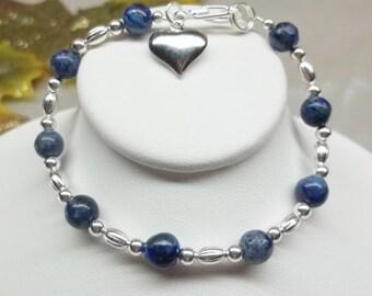 Blue Lapis Bracelet Heart Bracelet Lapis Lazuli Bracelet Adjustable Bracelet 925 Sterling Silver Plate Lapis Jewelry BuyAny3+Get1 Free