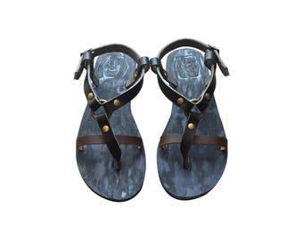 The Inspirator - Black-Brown / Blue Leather Sandals for Men & Women - Lightweight Design - Genuine Handmade Leather Sandals