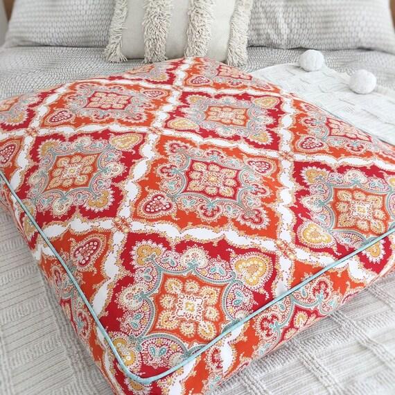 'Arabella' Dog Bed with insert - Orange floral pet bed - SMALL, MEDIUM